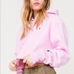 Champion Pink Cropped Hoodie Sweatshirt